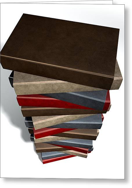 Hardcover Greeting Cards - Stack Of Generic Leather Books Greeting Card by Allan Swart