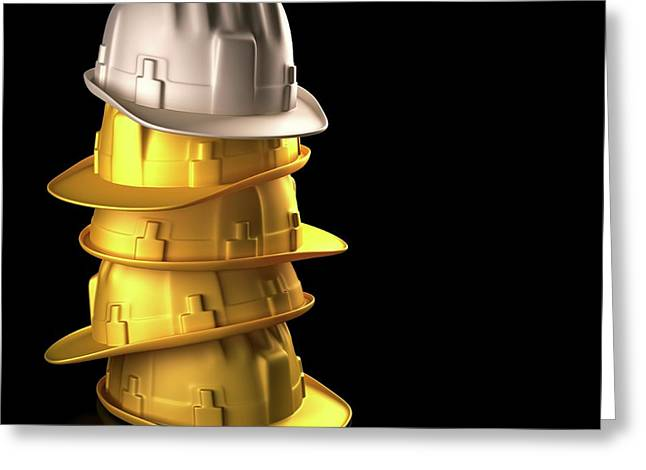 Stack Of Hard Hats Greeting Card by Ktsdesign