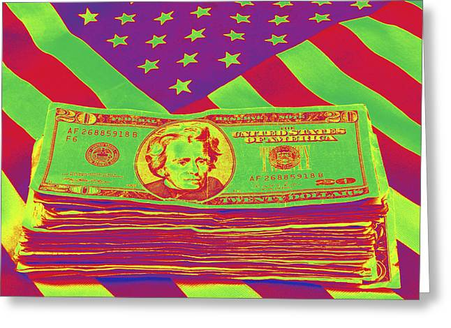 Financial Crisis Greeting Cards - Stack of Money On American Flag Pop Art Greeting Card by Keith Webber Jr