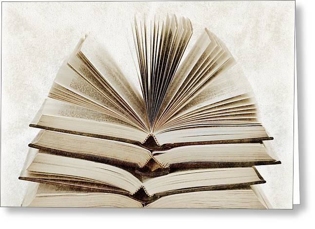 Hardcover Greeting Cards - Stack of open books Greeting Card by Elena Elisseeva