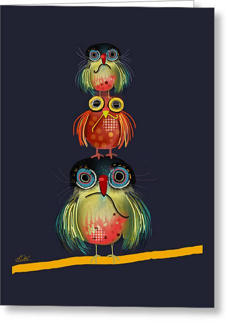 Stack Of Owls Greeting Card by Karin Taylor