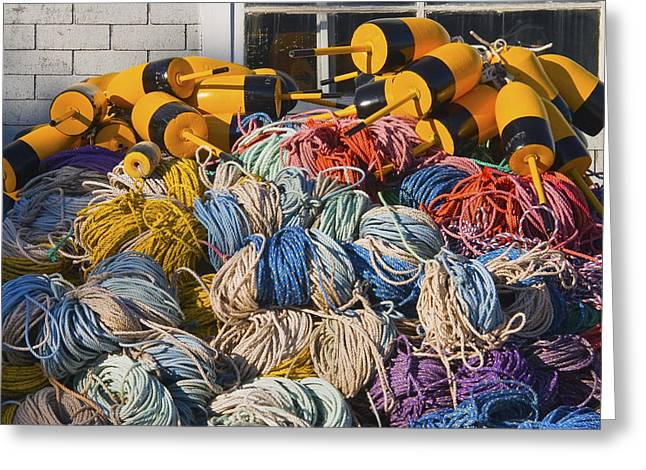 Lobster Traps Greeting Cards - Stack Of Rope And Lobster Fishing Gear On Dock Maine Greeting Card by Keith Webber Jr