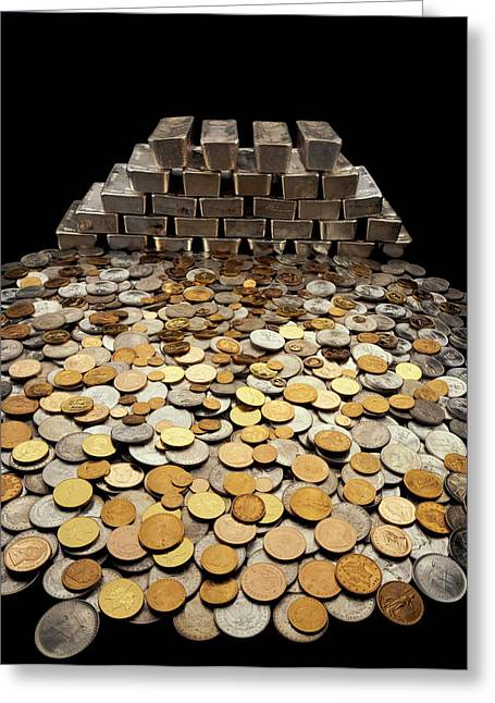 Greed Greeting Cards - Stack Of Sliver Ingots And Pile Of Coins Greeting Card by Panoramic Images