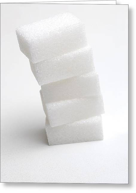 Sugar Cube Greeting Cards - Stack of sugar cubes Greeting Card by Science Photo Library