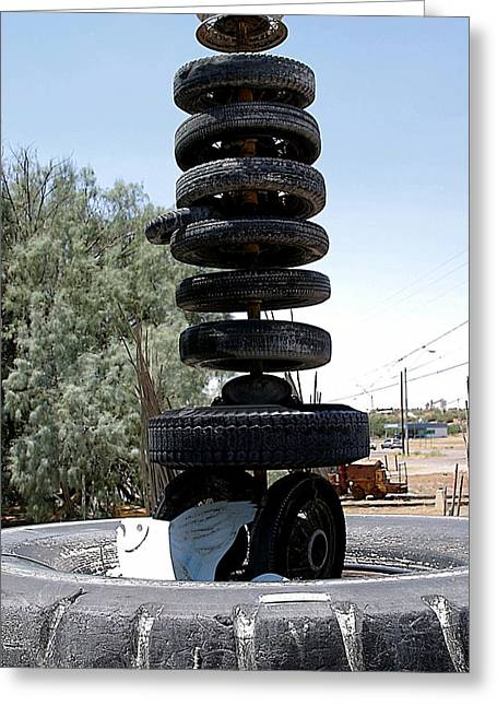 Meaningless Greeting Cards - Stack of Tires Greeting Card by Robb Rezak