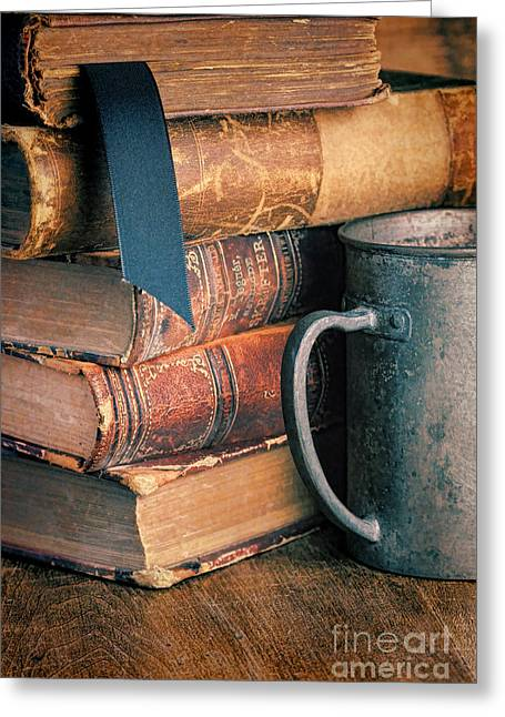 Pewter Mugs Greeting Cards - Stack of Vintage Books Greeting Card by Jill Battaglia