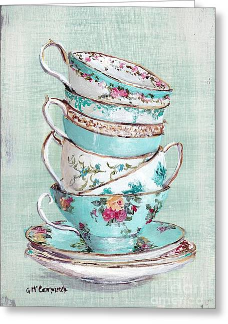 Vintage Rose Greeting Cards - Stacked Aqua Themed Tea Cups Greeting Card by Gail McCormack