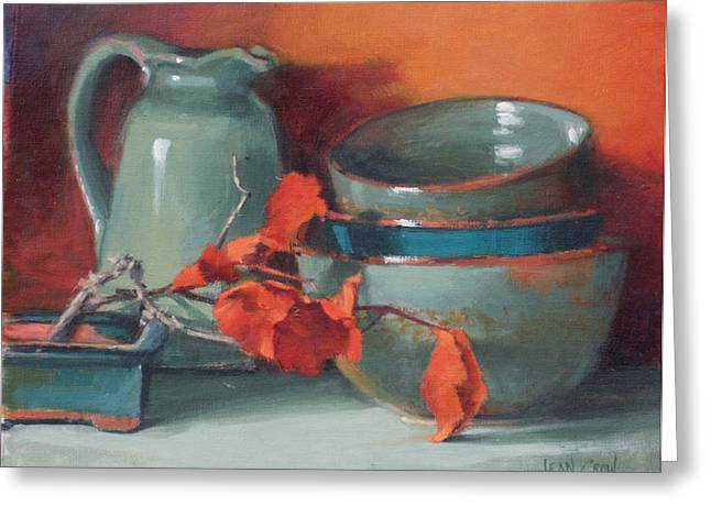 Pottery Pitcher Paintings Greeting Cards - Stacked Bowls #4 Greeting Card by Jean Crow