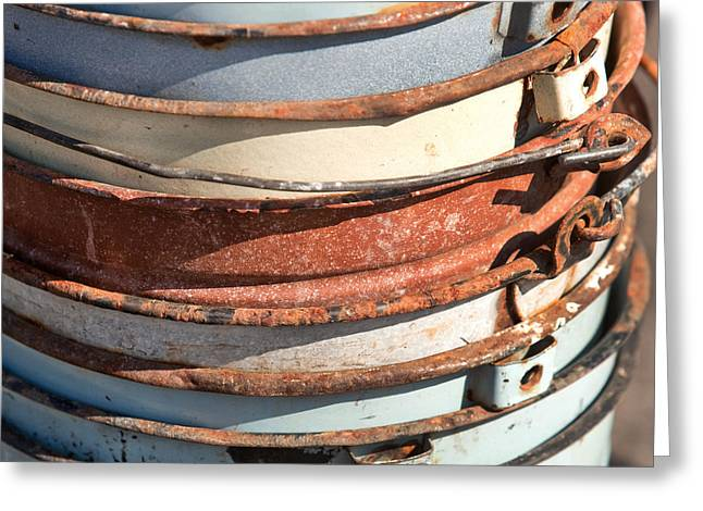 Rust Bucket Greeting Cards - Stacked Buckets Greeting Card by Art Block Collections