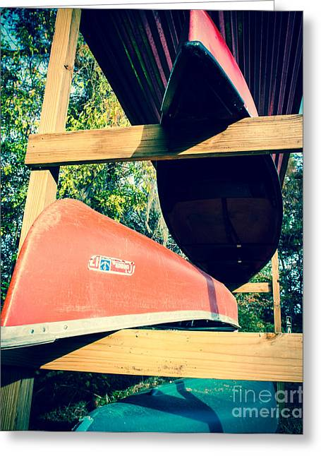 Canoe Photographs Greeting Cards - Stacked Caddo Canoes Greeting Card by Sonja Quintero