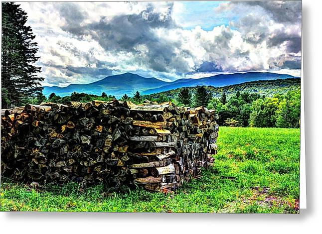 Off The Grid Greeting Cards - Stacked Firewood Greeting Card by John Nielsen