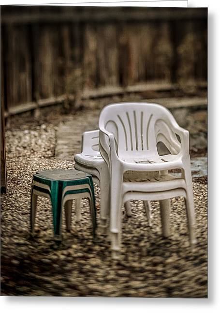 Home Greeting Cards - Stacked Plastic Chairs Greeting Card by YoPedro