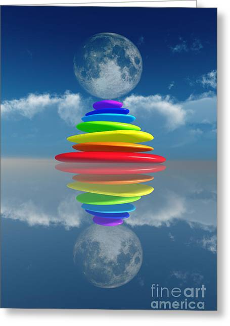 Close Focus Nature Scene Greeting Cards - Stacked Rainbow Colored Stones Greeting Card by Aleksey Tugolukov