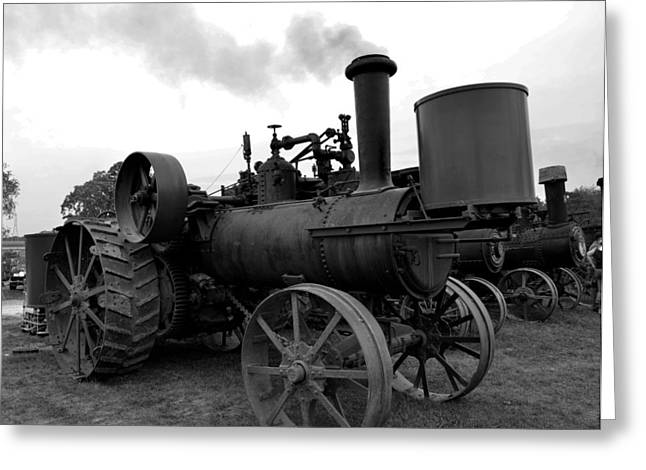White Steamer Photos Greeting Cards - Stacked Steamers BW Greeting Card by Larry Jones