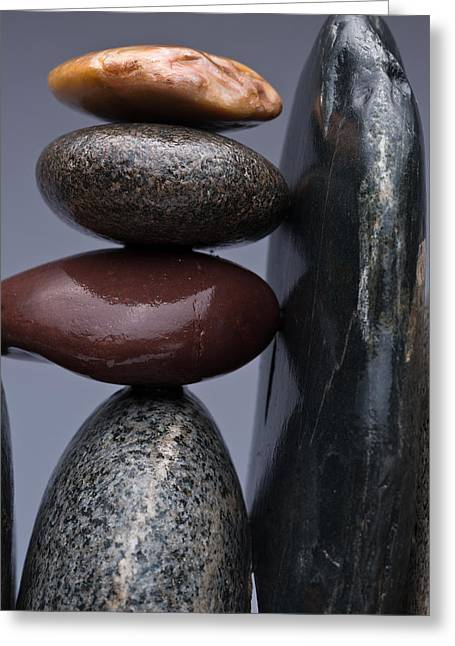 Pebbles Greeting Cards - Stacked Stones 5 Greeting Card by Steve Gadomski