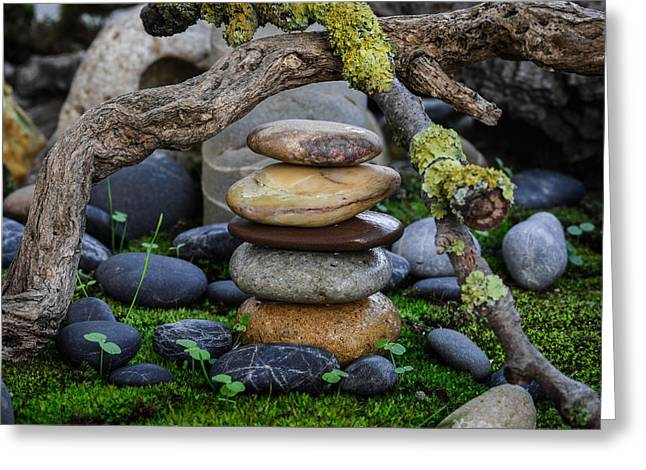 Mystic Setting Greeting Cards - Stacked Stones A1 Greeting Card by Marco Oliveira