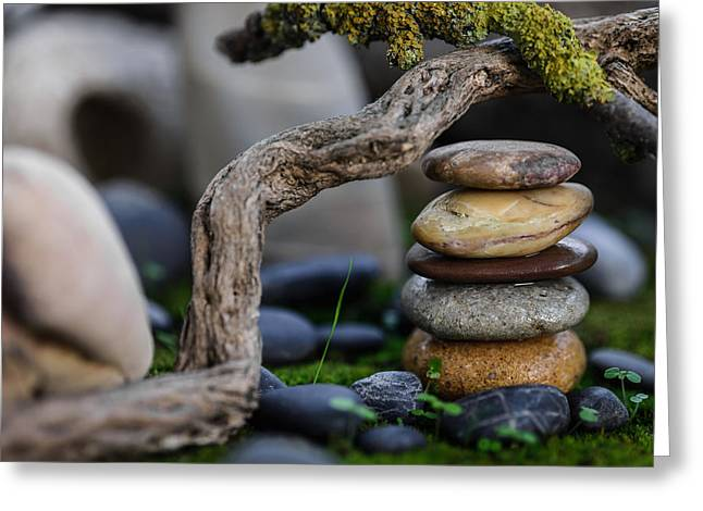 Mystic Setting Greeting Cards - Stacked Stones A2 Greeting Card by Marco Oliveira