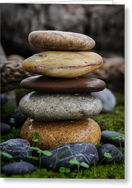 Mystic Setting Greeting Cards - Stacked Stones A4 Greeting Card by Marco Oliveira
