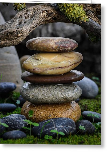 Mystic Setting Greeting Cards - Stacked Stones A5 Greeting Card by Marco Oliveira