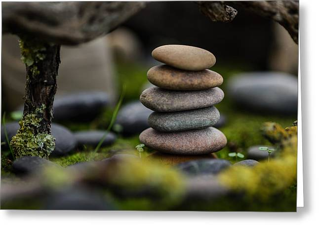 Mystic Setting Greeting Cards - Stacked Stones B1 Greeting Card by Marco Oliveira