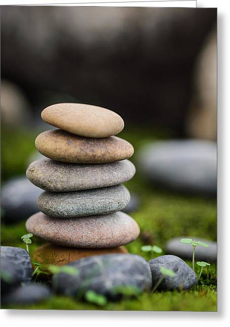 Mystic Setting Greeting Cards - Stacked Stones B2 Greeting Card by Marco Oliveira