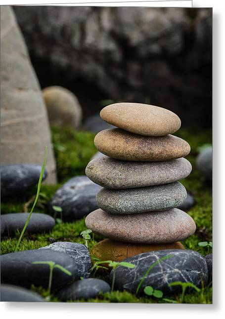 Mystic Setting Greeting Cards - Stacked Stones B3 Greeting Card by Marco Oliveira