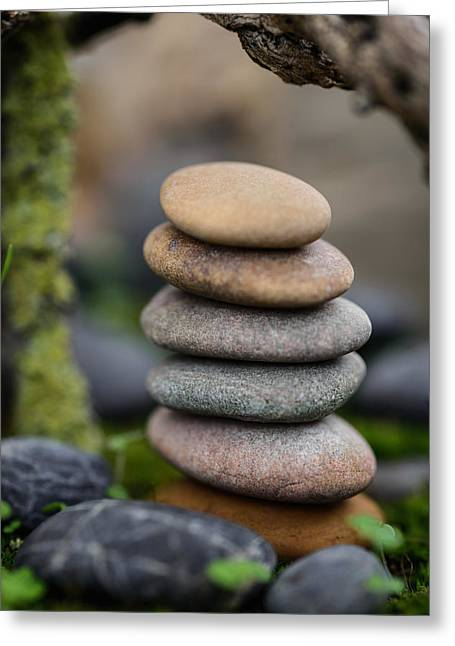Mystic Setting Greeting Cards - Stacked Stones B6 Greeting Card by Marco Oliveira