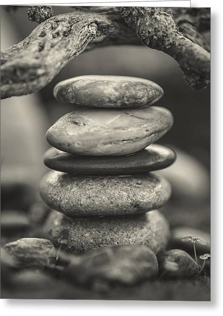 Mystic Setting Greeting Cards - Stacked Stones BW I Greeting Card by Marco Oliveira