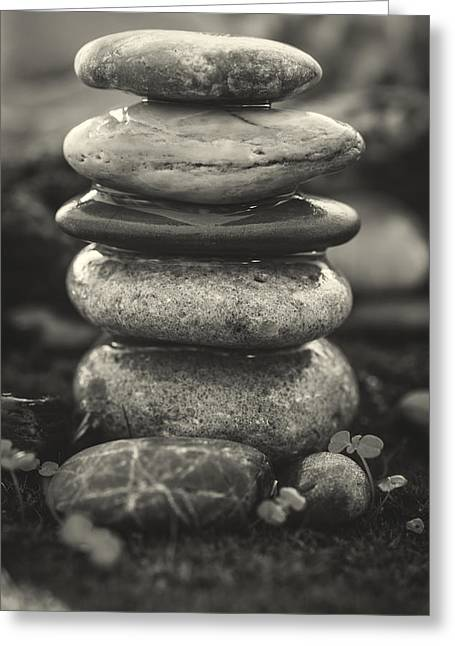 Mystic Setting Greeting Cards - Stacked Stones BW II Greeting Card by Marco Oliveira