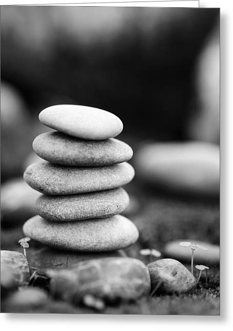 Mystic Setting Greeting Cards - Stacked Stones BW IV Greeting Card by Marco Oliveira