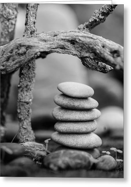 Mystic Setting Greeting Cards - Stacked Stones BW V Greeting Card by Marco Oliveira