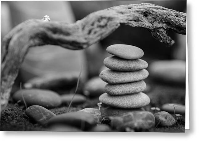 Mystic Setting Greeting Cards - Stacked Stones BW VI Greeting Card by Marco Oliveira