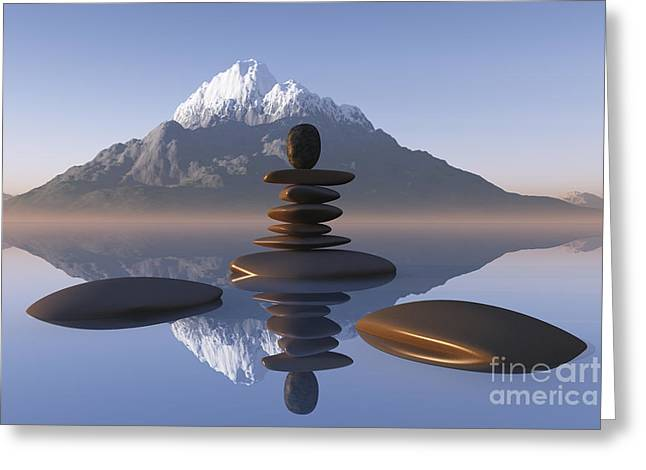 Zen Rock Stacking Greeting Cards - Stacked Stones In Lake Greeting Card by Aleksey Tugolukov