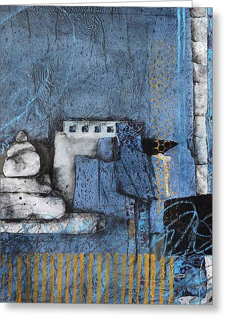 Abstract Collage Greeting Cards - Stacking Rock Blue Yellow I Greeting Card by Laura  Lein-Svencner