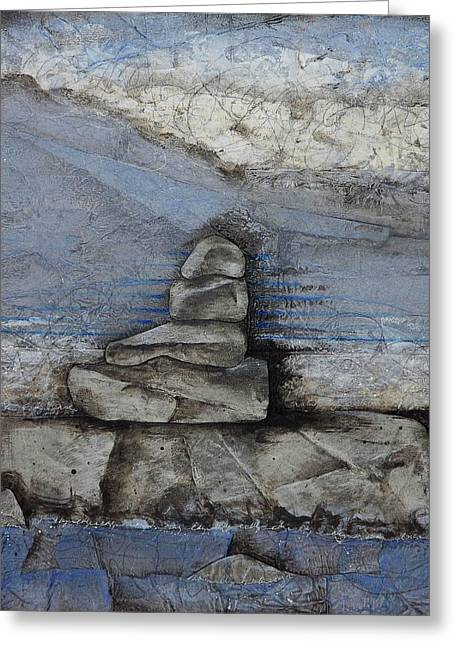 Abstract Collage Greeting Cards - Stacking Rock BlueI Greeting Card by Laura  Lein-Svencner