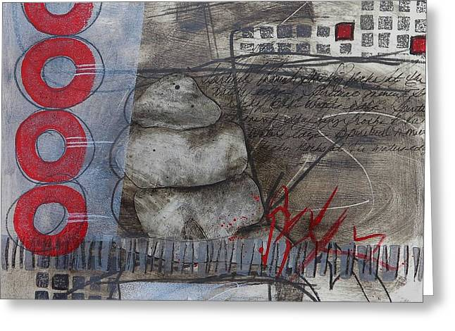 Abstract Collage Greeting Cards - Stacking Rock Red I Greeting Card by Laura  Lein-Svencner