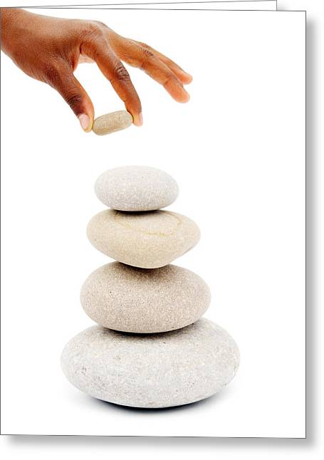 Zen Rock Stacking Greeting Cards - Stacking Stones Greeting Card by Chevy Fleet
