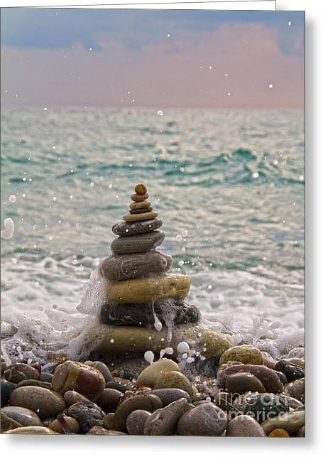 Impacting Photographs Greeting Cards - Stacking Stones Greeting Card by Stylianos Kleanthous