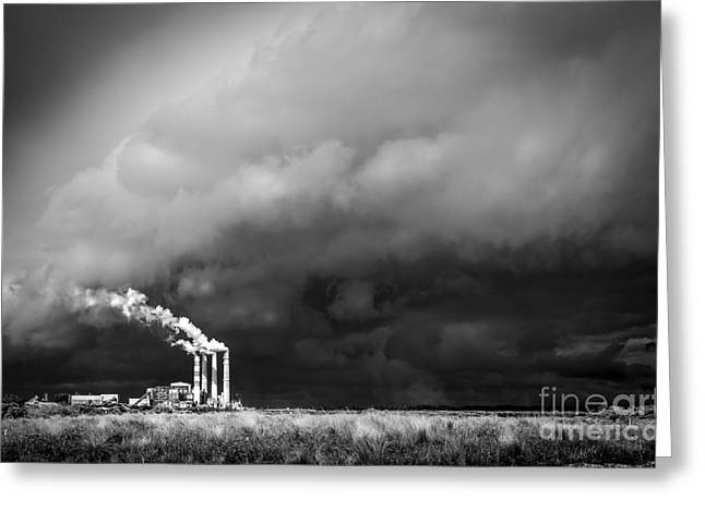 Power Plants Greeting Cards - Stacks in the Clouds Greeting Card by Marvin Spates