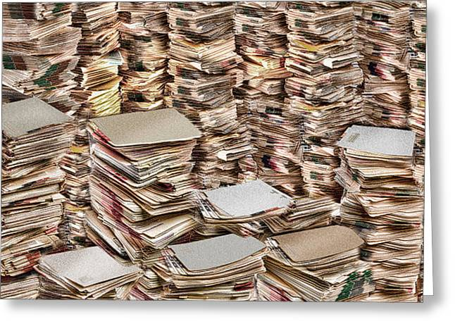 Excess Greeting Cards - Stacks Of Files Greeting Card by Panoramic Images