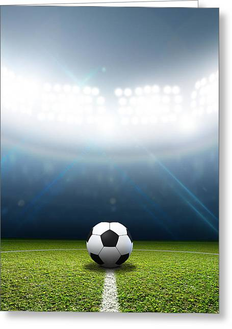 Sports Fields Greeting Cards - Stadium And Soccer Ball Greeting Card by Allan Swart