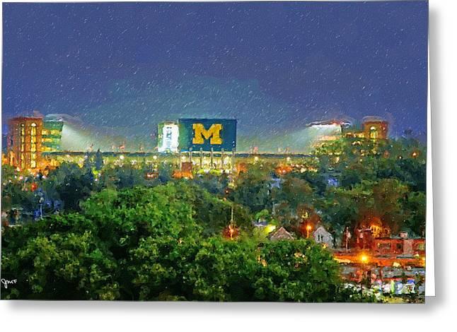 Stadium At Night Greeting Card by John Farr