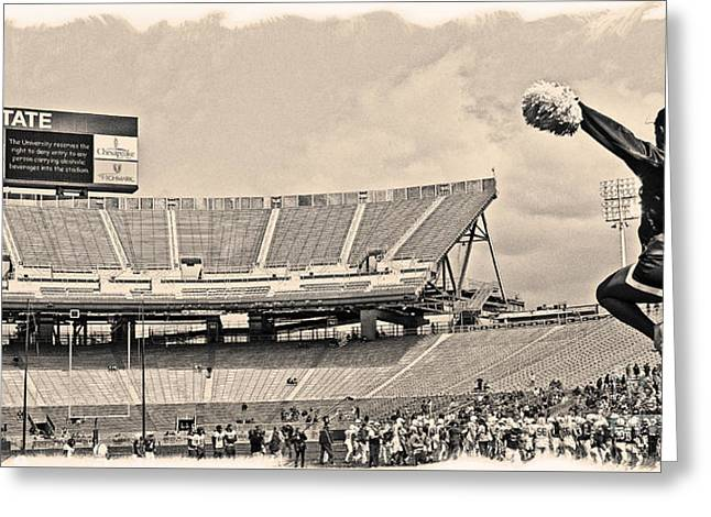 Nittany Lion Greeting Cards - Stadium Cheer Black and White Greeting Card by Tom Gari Gallery-Three-Photography