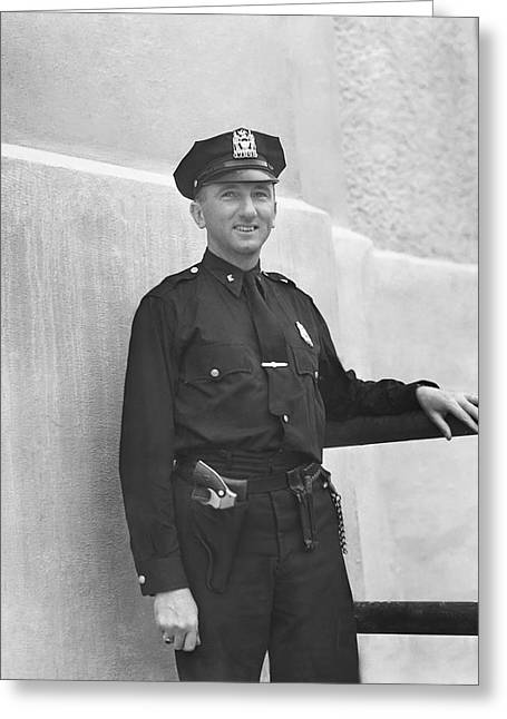 Police Officer Photographs Greeting Cards - Stadium Cop at Yankees Stadium Greeting Card by Retro Images Archive