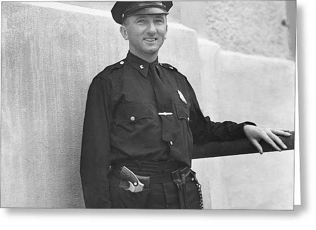 Stadium Cop at Yankees Stadium Greeting Card by Retro Images Archive