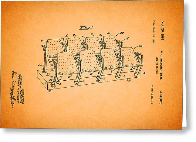 Stadium Design Greeting Cards - Stadium Seating Patent 1965 Greeting Card by Mountain Dreams