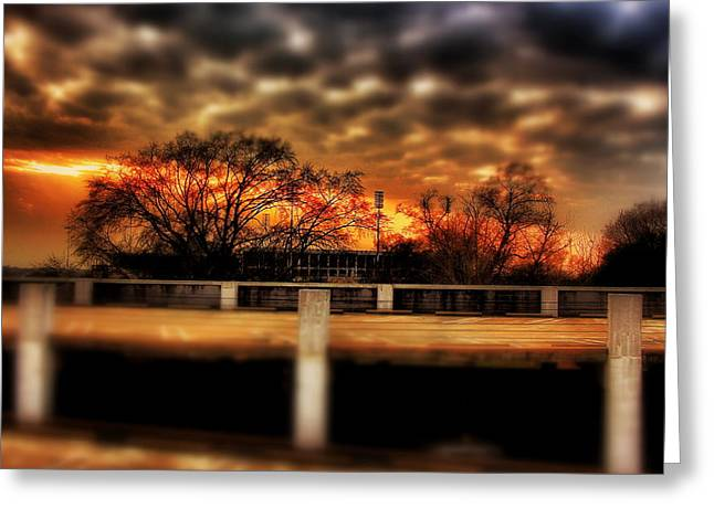 Veterans Stadium Greeting Cards - Stadium Sunset Greeting Card by Jim Albritton