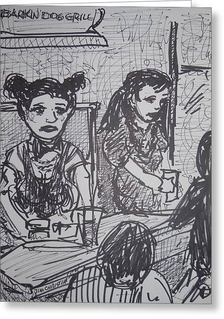 Waitress Drawings Greeting Cards - Staff at work Greeting Card by James  Christiansen