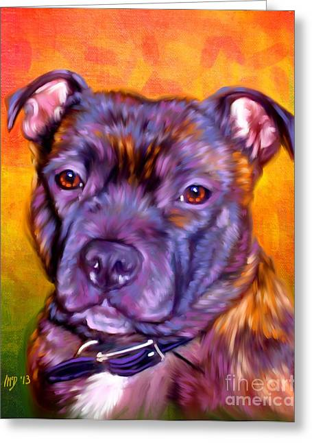 Staffie Greeting Cards - Staffie Artwork Greeting Card by Iain McDonald