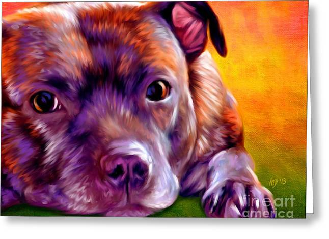 Staffie Greeting Cards - Staffie Staffordshire Bull Terrier Greeting Card by Iain McDonald